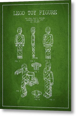Lego Toy Figure Patent - Green Metal Print by Aged Pixel