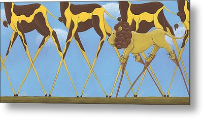 Whimsical Giraffe Painting  Metal Print by Christy Beckwith