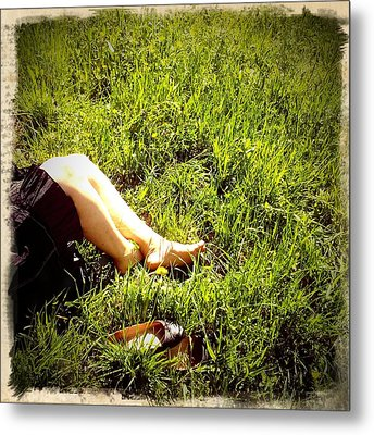 Legs Of A Woman And Green Grass Metal Print by Matthias Hauser