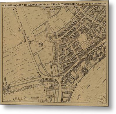 Leicester Square And Its Surroundings In 1658 Metal Print by English School
