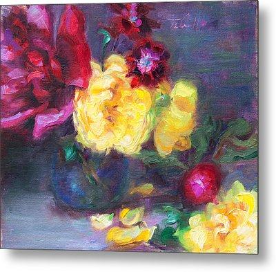 Lemon And Magenta - Flowers And Radish Metal Print by Talya Johnson