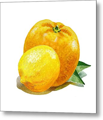 Lemon And Orange Happy Couple Metal Print