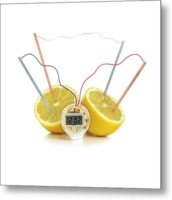 Lemon Clock Metal Print by Science Photo Library
