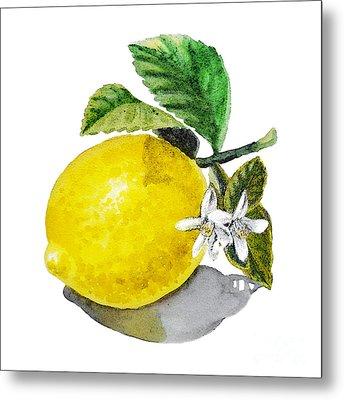 Lemon Flowers And Lemon Metal Print