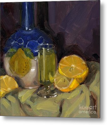 Metal Print featuring the painting Lemon Light by Nancy  Parsons