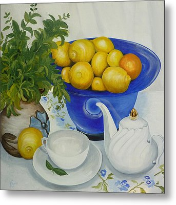 Metal Print featuring the painting Lemon Tea by Helen Syron