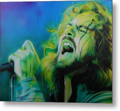 Eddie Vedder - ' Lemon Yellow Sun ' Metal Print by Christian Chapman Art