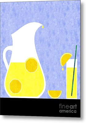 Lemonade And Glass Blue Metal Print by Andee Design