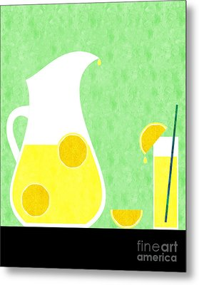 Lemonade And Glass Green Metal Print by Andee Design