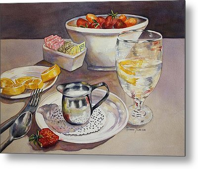 Metal Print featuring the painting Lemons And Things by Roxanne Tobaison