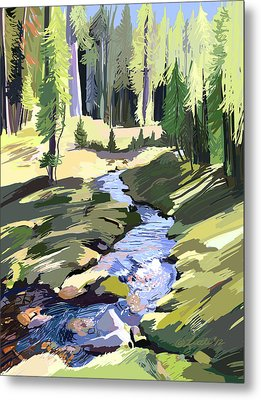 Lena Peak Stream Metal Print