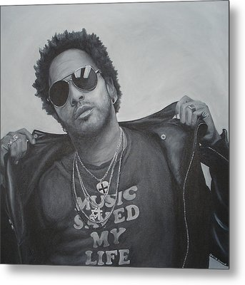 Metal Print featuring the painting Lenny Kravitz by David Dunne