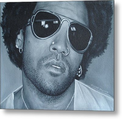 Metal Print featuring the painting Lenny Kravitz II by David Dunne