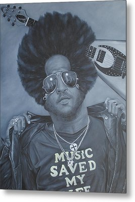 Metal Print featuring the painting Lenny Kravitz 'mr Cool' by David Dunne