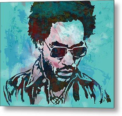 Lenny Kravitz - Stylised Etching Pop Art Poster Metal Print by Kim Wang
