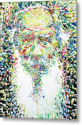 Leo Tolstoy Watercolor Portrait.1 Metal Print by Fabrizio Cassetta