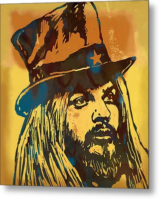 Leon Ressell Stylised Modern Pop Art Sketch Poster Metal Print by Kim Wang