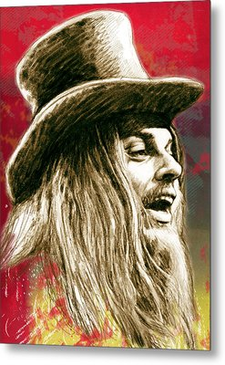 Leon Russell - Stylised Drawing Art Poster Metal Print