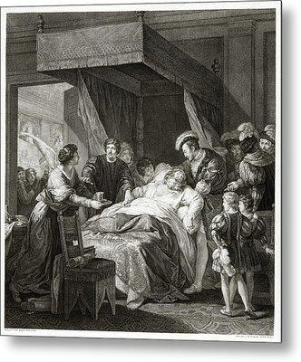 Leonardo Da Vicni On His Deathbed Metal Print by Library Of Congress