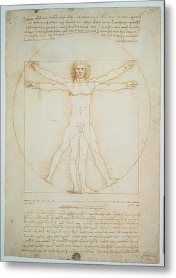 Leonardo Da Vinci, Vitruvian Man - Metal Print by Everett