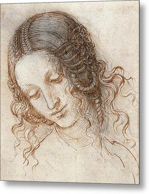 Leonardo Head Of Woman Drawing Metal Print by