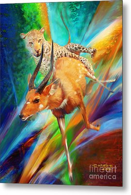 Metal Print featuring the painting Leopard Attack by Rob Corsetti
