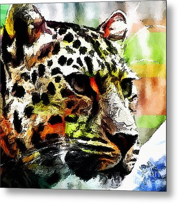 Metal Print featuring the painting Leopard - Leopardo by Zedi