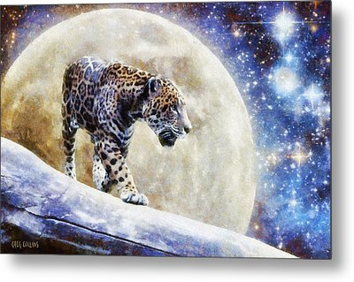 Metal Print featuring the painting Leopard Moon by Greg Collins