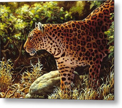 Leopard Painting - On The Prowl Metal Print by Crista Forest