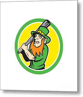 Leprechaun Baseball Hitter Batting Circle Retro Metal Print by Aloysius Patrimonio