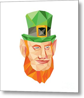 Leprechaun Head Low Polygon Metal Print by Aloysius Patrimonio