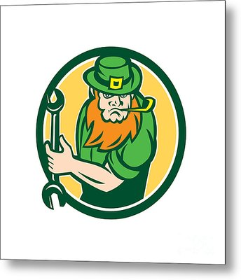 Leprechaun Mechanic Spanner Circle Retro Metal Print by Aloysius Patrimonio