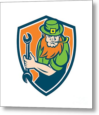 Leprechaun Mechanic Spanner Shield Retro Metal Print by Aloysius Patrimonio