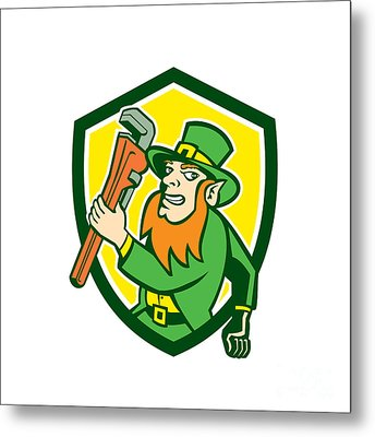 Leprechaun Plumber Wrench Running Shield Metal Print by Aloysius Patrimonio