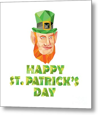 Leprechaun St Patrick's Day Low Polygon Metal Print by Aloysius Patrimonio
