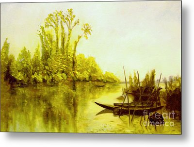 Metal Print featuring the painting Les Iles Vierges A Bezons Reproduction by Mukta Gupta