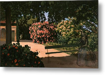 Les Lauriers Roses, 1867 Oil On Canvas Metal Print by Jean Frederic Bazille