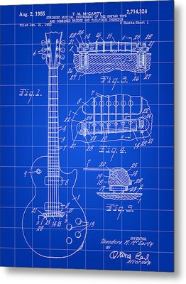 Les Paul Guitar Patent 1953 - Blue Metal Print
