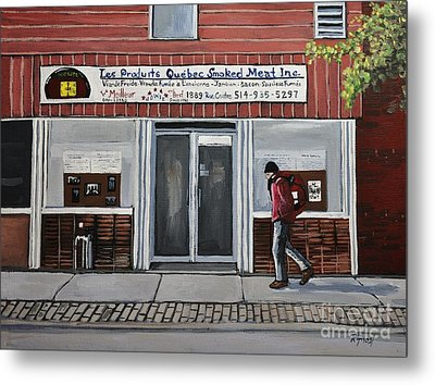 Les Produits Quebec Smoked Meat Inc Metal Print by Reb Frost