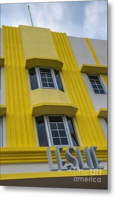 Leslie Hotel South Beach Miami Art Deco Detail 2 Metal Print by Ian Monk