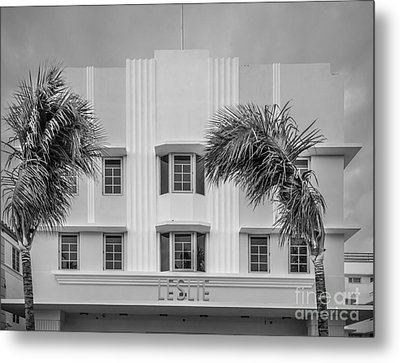 Leslie Hotel South Beach Miami Art Deco Detail 3 - Black And White Metal Print by Ian Monk