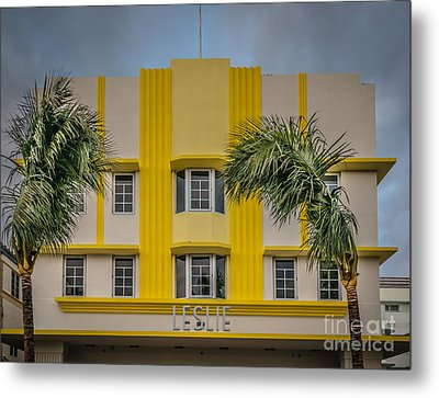 Leslie Hotel South Beach Miami Art Deco Detail 3 - Hdr Style Metal Print by Ian Monk