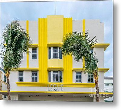 Leslie Hotel South Beach Miami Art Deco Detail 3 Metal Print by Ian Monk