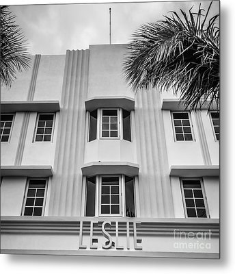 Leslie Hotel South Beach Miami Art Deco Detail - Square - Black And White Metal Print by Ian Monk