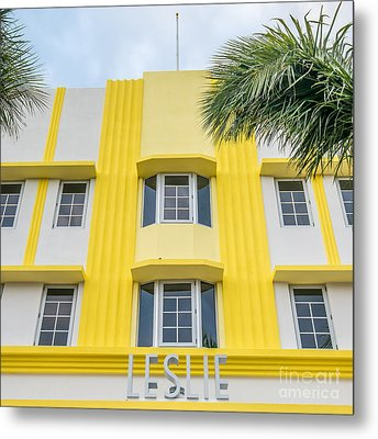 Leslie Hotel South Beach Miami Art Deco Detail - Square Metal Print by Ian Monk