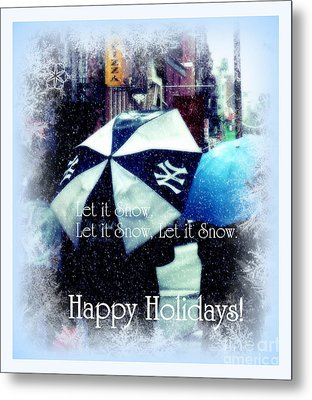 Let It Snow - Happy Holidays - Ny Yankees Holiday Cards Metal Print by Miriam Danar
