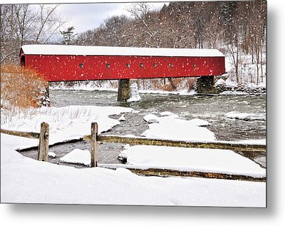 Connecticut Covered Bridge Snow Scene By Thomasschoeller.photography  Metal Print