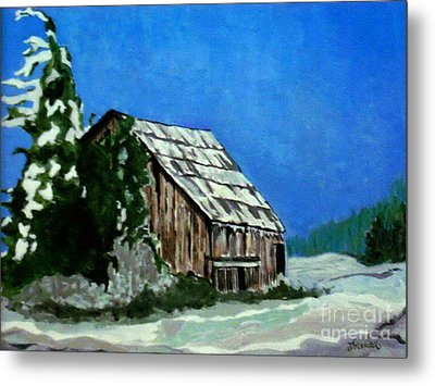 Metal Print featuring the painting L'etable  The Barn by Joyce Gebauer