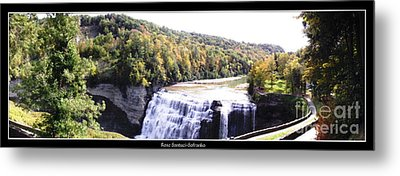 Letchworth State Park Middle Falls Panorama Metal Print by Rose Santuci-Sofranko