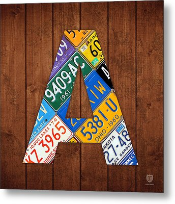 Letter A Alphabet Vintage License Plate Art Metal Print by Design Turnpike